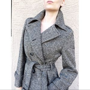 VTG PENDLETON Herringbone Long Wool Trench Coat